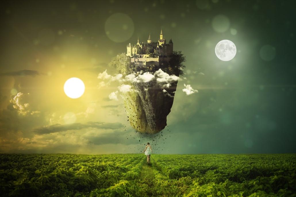 Tag und Nacht, getrennt voneinander durch eine schwebende Burg