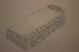 Ein Bett aus Büchern Skizze