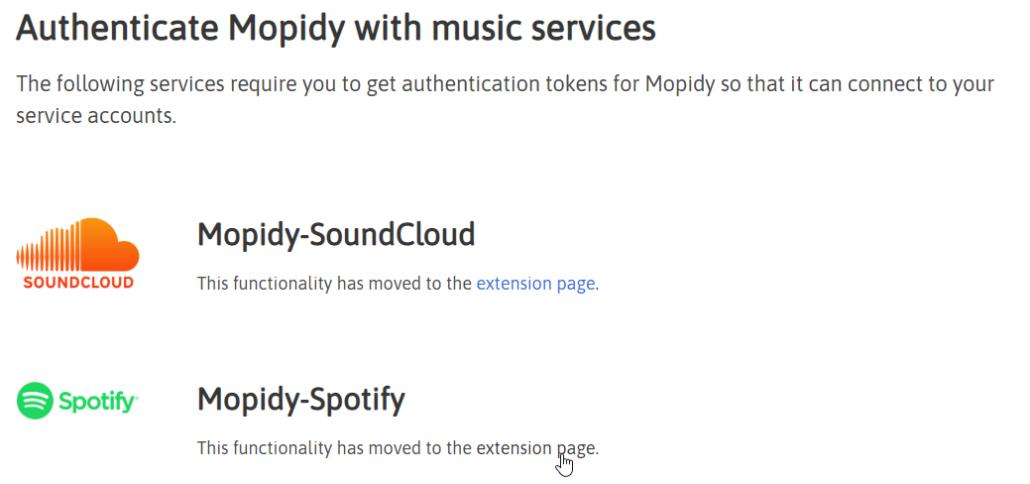 Auf Mopidy-Spotify klicken