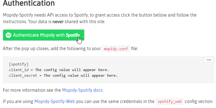 Auf Authenticate Mopidy with Spotify klicken