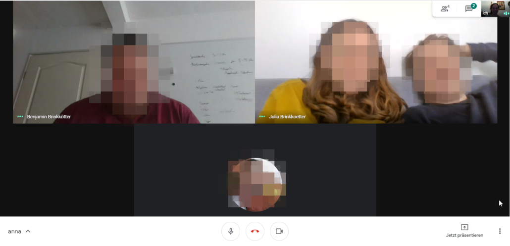 Google Meet Screenshot für Rezension zum online Escape Room Ausgangssperre